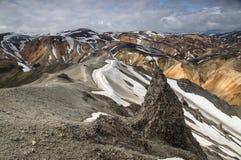 Панорама гор радуги около Landmannalaugar, Исландии Стоковые Фотографии RF
