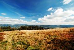 Панорама гор Beskidy, Польша Стоковые Фото
