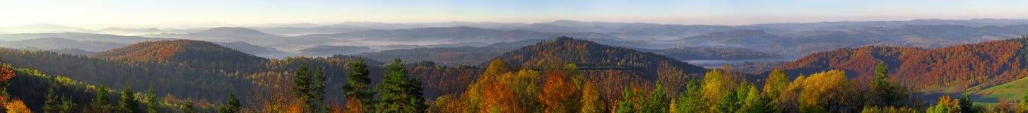 Панорама гор Bieszczady от холма Wujskie Стоковые Фотографии RF