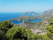 Панорама голубого индюка oludeniz лагуны и пляжа Стоковая Фотография