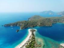 Панорама голубого индюка oludeniz лагуны и пляжа Стоковое Фото