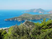 Панорама голубого индюка oludeniz лагуны и пляжа Стоковые Фото