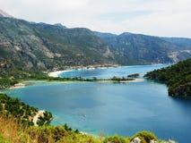 Панорама голубого индюка oludeniz лагуны и пляжа Стоковое Изображение RF