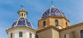 Панорама голубых куполов церков Altea Стоковое Фото