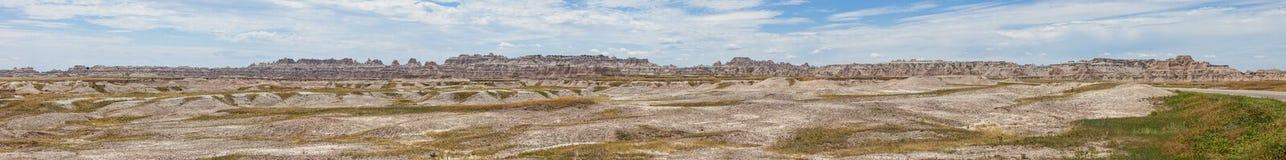 панорама 180 градусов неплодородных почв Южной Дакоты Стоковое Изображение RF