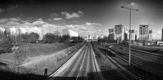 Панорама Гданьска Zaspa, Польши Художнический взгляд в черно-белом Стоковые Изображения