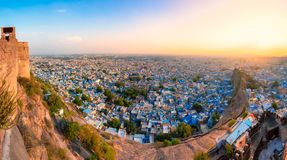 Панорама Джодхпура от форта Mehrangarh Стоковые Изображения