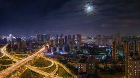 Панорама дороги виадука кольца Ухань 2rd стоковая фотография rf
