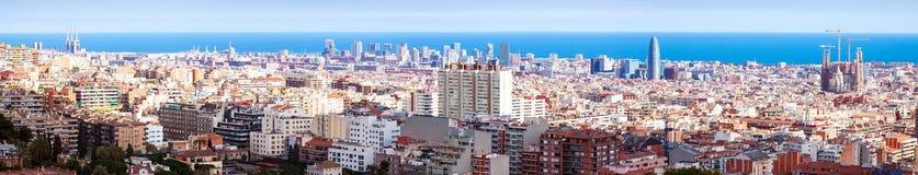 Панорама живописного района метрополитена Барселона Стоковое Изображение