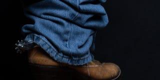 Панорама джинсов и ботинок ковбоя Стоковые Фотографии RF