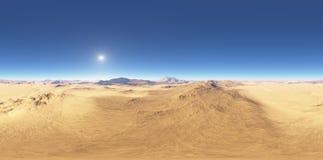 Панорама захода солнца ландшафта пустыни, карты окружающей среды HDRI Проекция Equirectangular, сферически панорама Стоковое Изображение RF