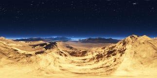 Панорама захода солнца ландшафта пустыни, карты окружающей среды HDRI Проекция Equirectangular, сферически панорама Стоковые Фото