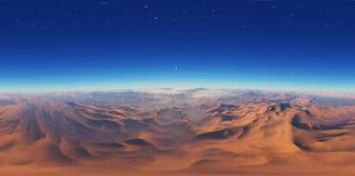 Панорама захода солнца ландшафта фантазии, карты окружающей среды HDRI Проекция Equirectangular, сферически панорама иллюстрация вектора