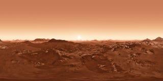 Панорама 360 захода солнца Марса, карты окружающей среды Проекция Equirectangular, сферически панорама иллюстрация штока