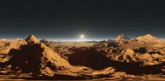 Панорама захода солнца Марса, карты окружающей среды HDRI Проекция Equirectangular, сферически панорама Марсианский ландшафт Стоковые Изображения RF