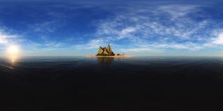 Панорама захода солнца на море, восход солнца океана Стоковые Фото