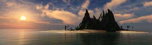 Панорама захода солнца на море, восход солнца океана Стоковое фото RF