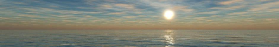 Панорама захода солнца на море, восход солнца океана Стоковые Изображения RF