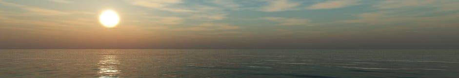 Панорама захода солнца на море, восход солнца океана Стоковая Фотография