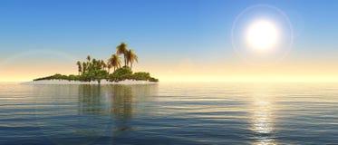 Панорама захода солнца на море, восход солнца океана Стоковое Изображение