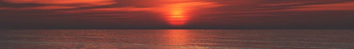 Панорама захода солнца на море, восход солнца океана Стоковое Изображение RF