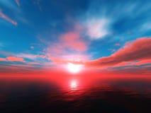Панорама захода солнца на море, восход солнца океана Стоковые Фотографии RF