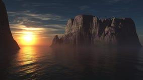 Панорама захода солнца на море, восход солнца океана Стоковые Изображения
