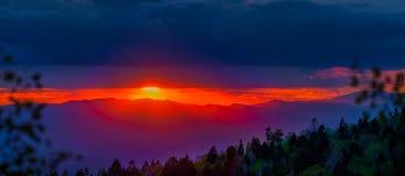 Панорама захода солнца таза лыжи Санта-Фе Стоковое Фото
