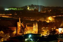 Панорама зимы Вильнюса от башни замка Gediminas Стоковое фото RF