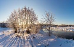 Панорама зимы реки, России, Ural стоковое фото rf