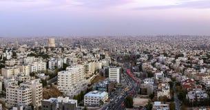 Панорама зоны Abdoun и мост abdoun - полно- взгляд города Аммана столица Джордана Стоковое Изображение RF