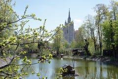 Панорама зоопарка Москвы весной Стоковое фото RF