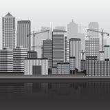Панорама здания города с кранами иллюстрация вектора