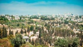 Панорама Иерусалима - жилые районы и стена Ol Стоковое Фото