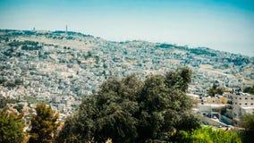 Панорама Иерусалима - жилые районы и стена Ol Стоковые Изображения RF