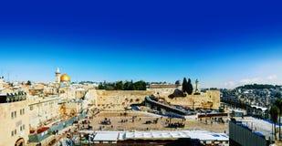 Панорама Иерусалима, Израиля с западной стеной Стоковая Фотография RF