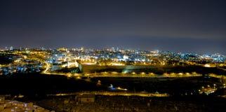 Панорама Иерусалима на ноче, Mount of Olives, Ближний Востока Стоковые Изображения RF