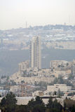 Панорама Иерусалима современного города с взглядом птиц-глаза Стоковая Фотография RF