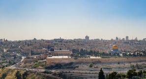 Панорама Иерусалима эспланада мечетей Стоковые Фото
