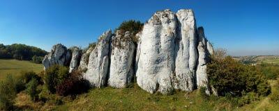 Панорама известковой скалы, польской юрской гористой местности. Стоковые Изображения
