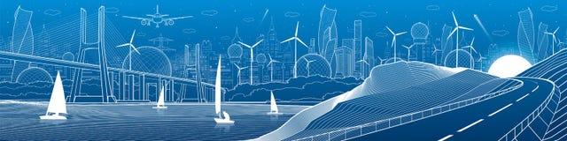 Панорама иллюстрации инфраструктуры города промышленная Большой, который кабел-остали мост через реку Дорога автомобиля в горах W Стоковые Фото