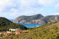 Панорама и Средиземное море горы Майорки около Peguera Стоковое Изображение