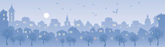 панорама иллюстрации grunge города предпосылки большая ввела урбанский вектор в моду Стоковые Изображения