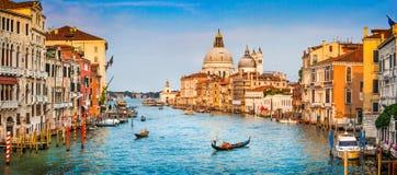 Панорама канала большая на заходе солнца, Венеции, Италии Стоковое Фото