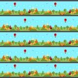 Панорама, картина ландшафта безшовная Диаграмма с бесконечно повторенными элементами также вектор иллюстрации притяжки corel бесплатная иллюстрация