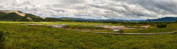 Панорама кальдеры Uzon Заповедник Kronotsky стоковые фото