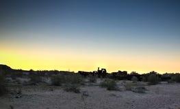 Панорама кладбища корабля на заходе солнца около Moynaq, Karakalpakstan, Узбекистана Стоковое Изображение RF