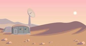 Панорама колонизации космоса Колония на другой планете Округленное lineart повреждает бесплатная иллюстрация