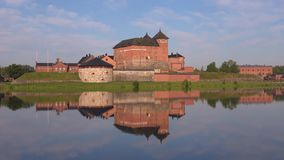 Панорама крепости Hämeenlinna, утра Финляндия сток-видео