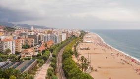 Панорама курортного города Calella перед грозой акции видеоматериалы